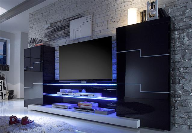 Wohnwand twin wohnzimmer anbauwand in schwarz und wei for Wohnwand modern schwarz