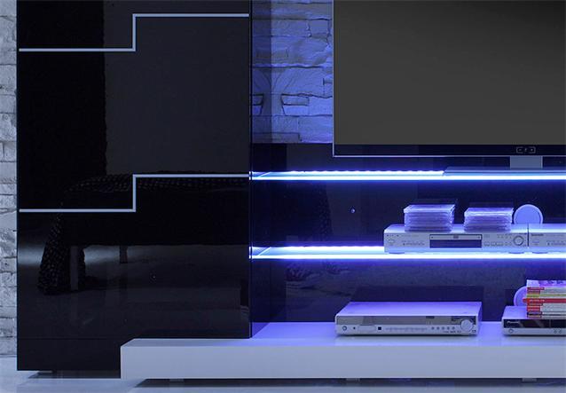 Wohnwand Twin Wohnzimmer Anbauwand In Schwarz Und Weiss Hochglanz Gestaltungsideen