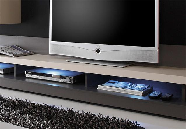 wohnwand frisco anbauwand kashmir creme anthrazit hochglanz ebay. Black Bedroom Furniture Sets. Home Design Ideas
