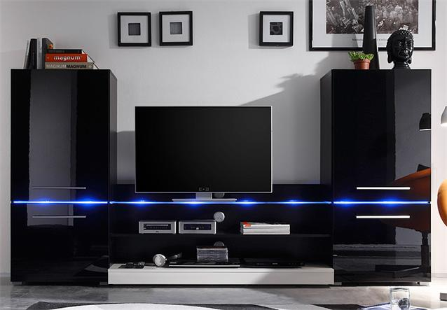 wohnwand flash anbauwand schwarz hochglanz inkl led beleuchtung 256 cm breit ebay. Black Bedroom Furniture Sets. Home Design Ideas
