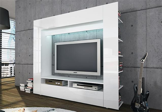 Wohnzimmer Anbauwand Ebay : Details about Wohnwand TV Medienwand Anbauwand Olli in wei? Front in
