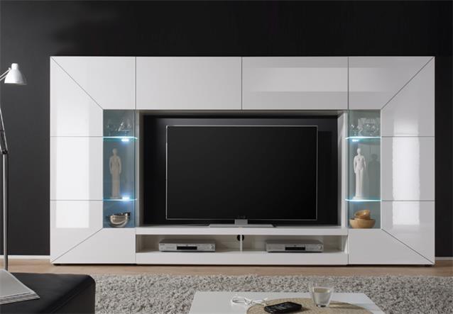 wohnwand mediawand 2e anbauwand wei hochglanz lowboard 2. Black Bedroom Furniture Sets. Home Design Ideas