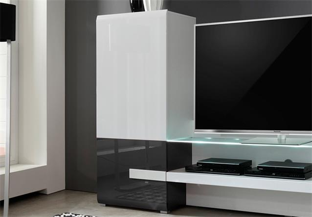 wohnwand tv medienwand anbauwand easyfurn x1 wei schwarz. Black Bedroom Furniture Sets. Home Design Ideas