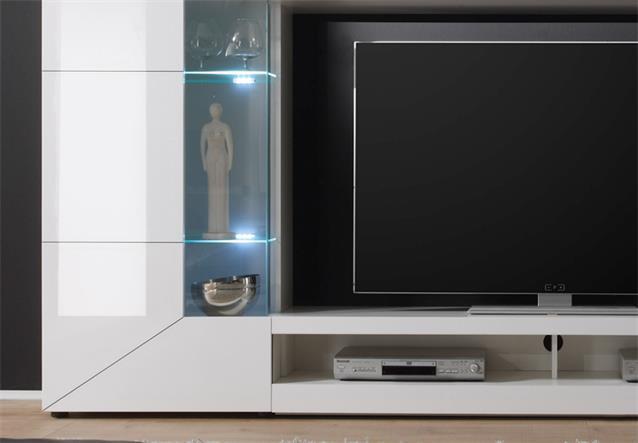 wohnwand mediawand 2e wei hochglanz mit tv lowboard 2. Black Bedroom Furniture Sets. Home Design Ideas