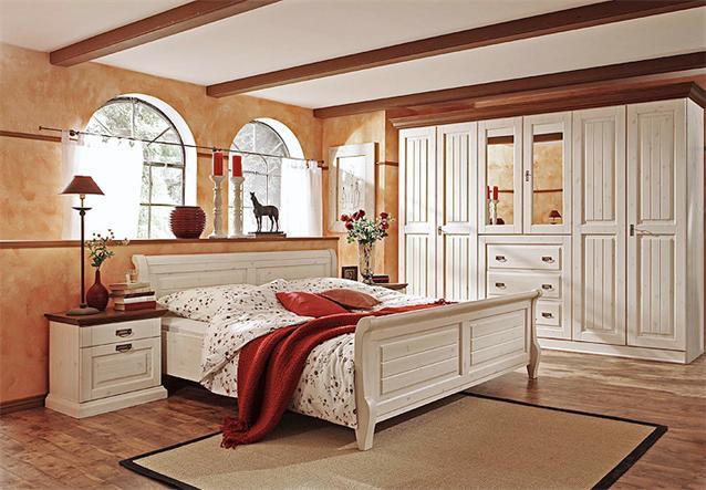 schlafzimmer set 1 malta kleiderschrank bett kommode kiefer massiv wei braun ebay. Black Bedroom Furniture Sets. Home Design Ideas