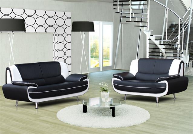 sofa 2 sitzer palermo wohnzimmer designer couch in schwarz wei mit metallf en ebay. Black Bedroom Furniture Sets. Home Design Ideas