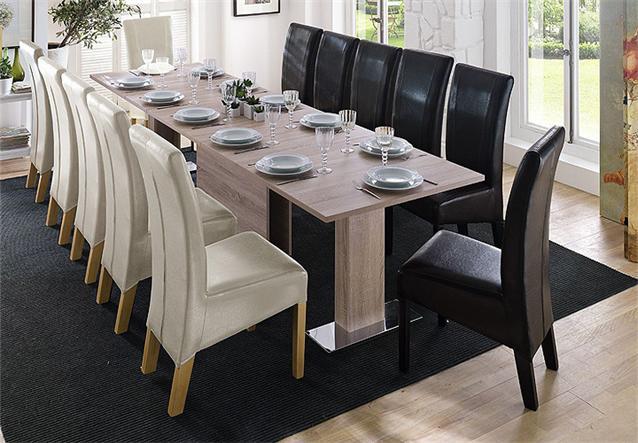 esstisch laurel tisch sonoma eiche s gerau und metall chrom ausziehbar 160 320 ebay. Black Bedroom Furniture Sets. Home Design Ideas