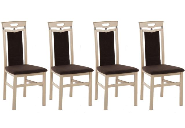 stuhl lupus 4er set holzstuhl mit polster braun gestell sonoma eiche massiv ebay. Black Bedroom Furniture Sets. Home Design Ideas