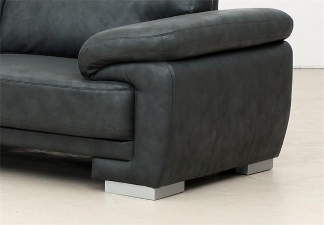 garnitur nele sofa hocker in lederlook anthrazit mit federkern ebay. Black Bedroom Furniture Sets. Home Design Ideas