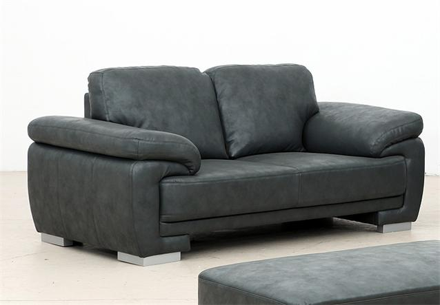 2er sofa nele in lederlook anthrazit mit federkernpolsterung ebay. Black Bedroom Furniture Sets. Home Design Ideas