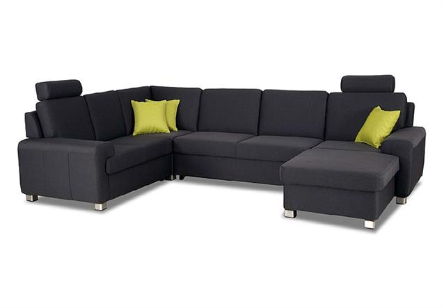 wohnlandschaft plaza sofa ecksofa anthrazit mit bettfunktion und bettkasten ebay. Black Bedroom Furniture Sets. Home Design Ideas