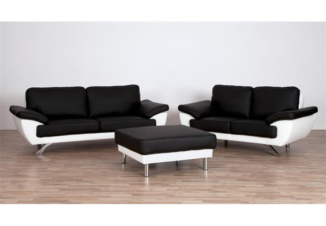 sofa gino 2 sitzer bezug in schwarz und wei inkl nosagfederung breite 175 cm ebay. Black Bedroom Furniture Sets. Home Design Ideas