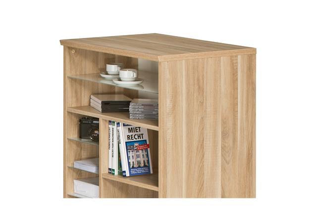 mini office maja 9562 schreibtischkombi regal in eiche natur und wei hochglanz ebay. Black Bedroom Furniture Sets. Home Design Ideas