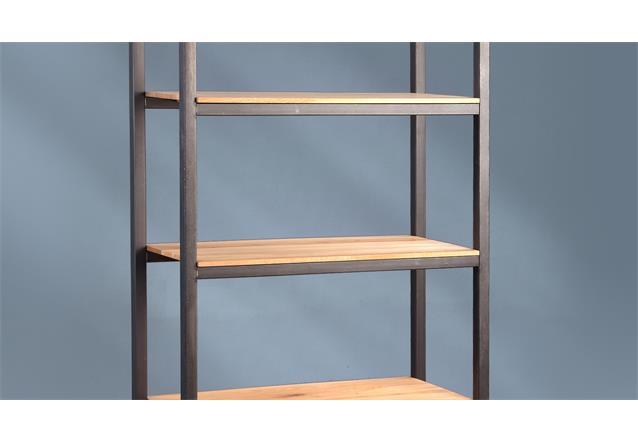 regal glenn 3 metall wildeiche massiv 5 b den aufbewahrung. Black Bedroom Furniture Sets. Home Design Ideas