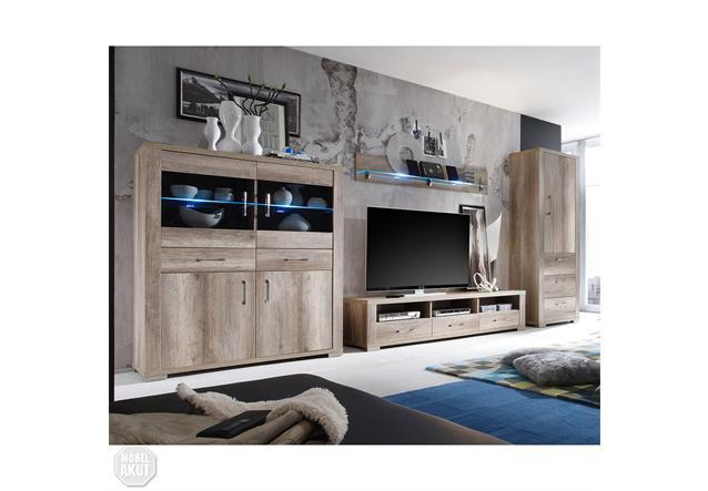 wohnwand ii matti anbauwand in wildeiche tr ffel dekor ebay. Black Bedroom Furniture Sets. Home Design Ideas