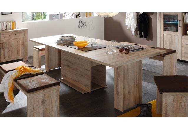esstisch porto esszimmertisch k che tisch eiche s gerau ausziehbar 140 300 cm ebay. Black Bedroom Furniture Sets. Home Design Ideas