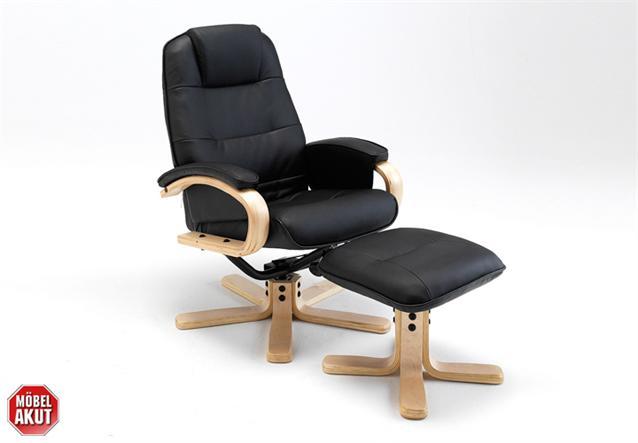 relaxsessel mit hocker sane sessel und hocker schwarz neu ebay. Black Bedroom Furniture Sets. Home Design Ideas