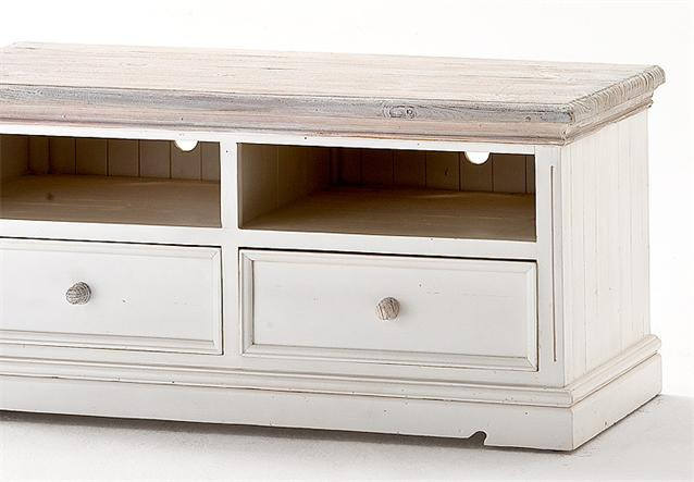 tv board opus lowboard unterschrank in kiefer massiv wei im vintage look ebay. Black Bedroom Furniture Sets. Home Design Ideas