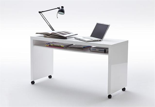 schreibtisch vando computertisch pc tisch auf rollen in wei hochglanz lack. Black Bedroom Furniture Sets. Home Design Ideas