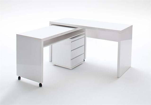 3 tlg schreibtisch kombi sydney computertisch rollcontainer in wei hochglanz ebay. Black Bedroom Furniture Sets. Home Design Ideas