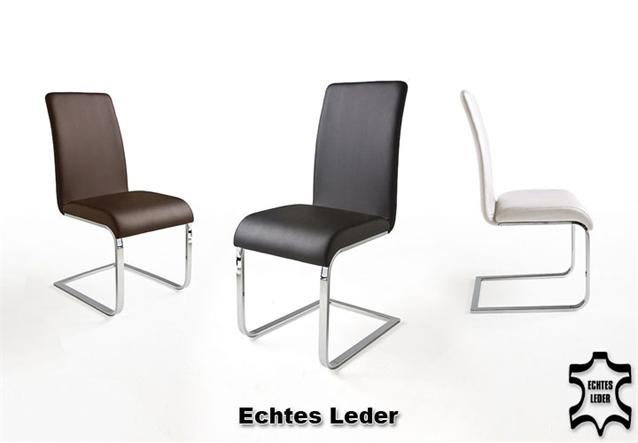 6er set schwingstuhl barka freischwinger stuhl in wei echtes leder chrom ebay. Black Bedroom Furniture Sets. Home Design Ideas
