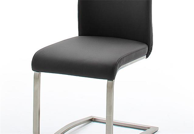 stuhl arco 4er set freischwinger st hle in echtleder schwarz und edelstahl ebay. Black Bedroom Furniture Sets. Home Design Ideas