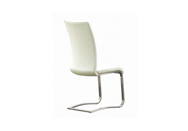 stuhl arco 4er set freischwinger st hle in echtleder wei und edelstahl ebay. Black Bedroom Furniture Sets. Home Design Ideas