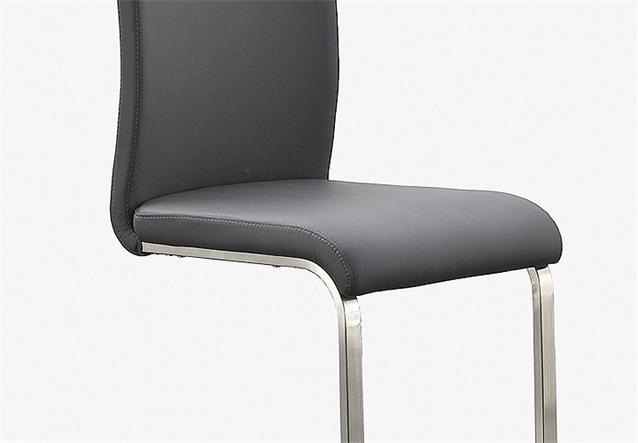 stuhl arco 4er set freischwinger st hle in echtleder grau und edelstahl ebay. Black Bedroom Furniture Sets. Home Design Ideas