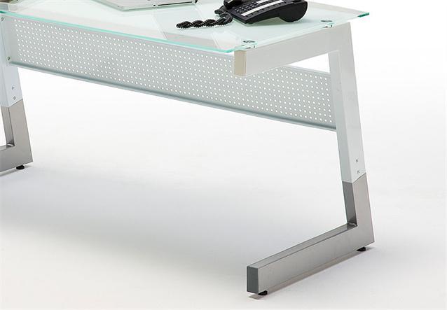 schreibtisch roby b rotisch computertisch in glas metall wei 150x80 cm ebay. Black Bedroom Furniture Sets. Home Design Ideas