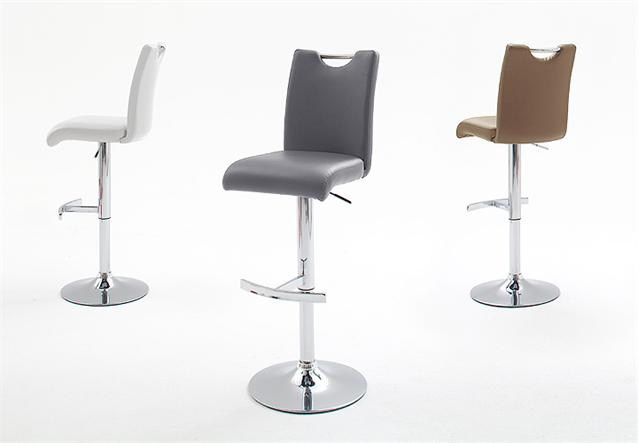 barhocker aachen 2er stuhl set in grau mit h henverstellbarem chromgestell ebay. Black Bedroom Furniture Sets. Home Design Ideas