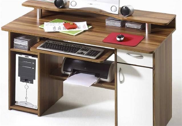schreibtisch mauro computertisch pc tisch in walnuss wei ebay. Black Bedroom Furniture Sets. Home Design Ideas