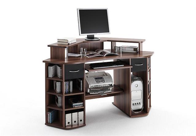 schreibtisch marvin computertisch pc tisch in walnuss und schwarz ebay. Black Bedroom Furniture Sets. Home Design Ideas