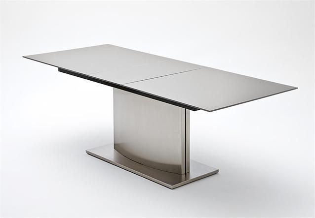 Esstisch Memory Glas ~ Esstisch Memory Tisch Esszimmertisch Glas dunkel grau Edelstahl ausziehbar