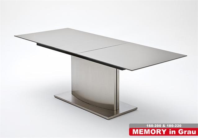 Esstisch Memory Glas ~ Esstisch Memory Tisch Esszimmertisch Glas Weiß Edelstahl ausziehbar 200×90