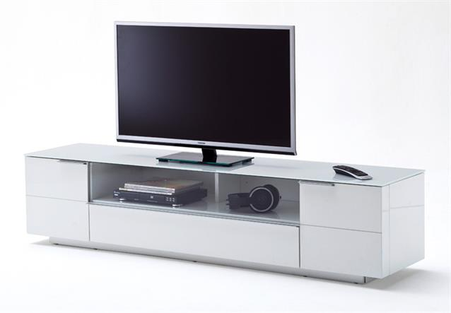lowboard 1 canberra tv board hifi m bel wei hochglanz lackiert mit glasplatte ebay. Black Bedroom Furniture Sets. Home Design Ideas