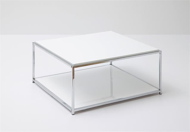 couchtisch isa beistelltisch tisch in wei hochglanz lackiert verchromt 80x80 ebay. Black Bedroom Furniture Sets. Home Design Ideas