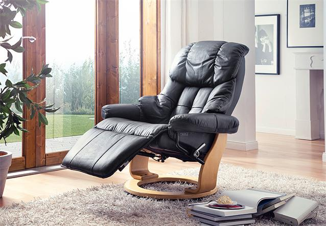 relaxsessel calgary 2 relaxchair sessel in echtleder schwarz gestell natur ebay. Black Bedroom Furniture Sets. Home Design Ideas