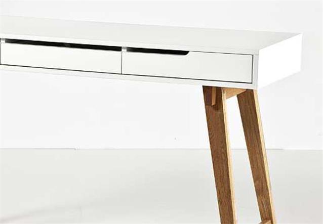 konsole anneke schreibtisch tisch mdf wei matt lackiert massivholz natur ebay. Black Bedroom Furniture Sets. Home Design Ideas