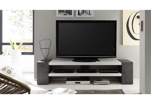 tv rack janes tv board lowboard in wei matt lack mit beton oder eiche massiv ebay. Black Bedroom Furniture Sets. Home Design Ideas