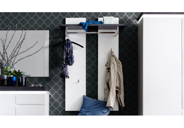 Wandpaneel atlanta garderobenpaneel matt wei lackiert und for Garderobe betonoptik