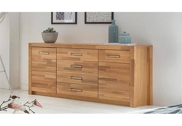 sideboard fenja anrichte schrank kommode in wildeiche massiv ge lt und furniert ebay. Black Bedroom Furniture Sets. Home Design Ideas