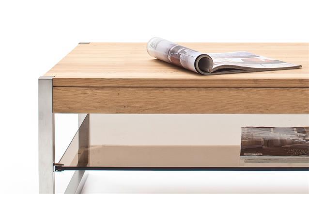 couchtisch migel tisch eiche massiv und glas bronze mit metallgestell 105x65 cm ebay. Black Bedroom Furniture Sets. Home Design Ideas