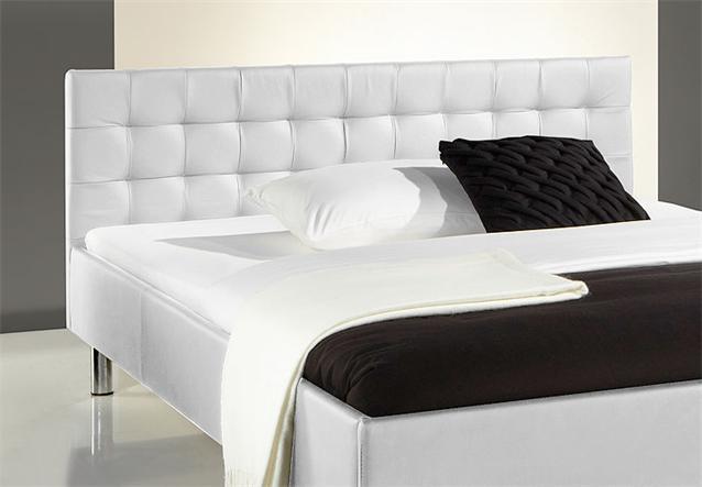 polsterbett poko bett in wei lederlook und chrom 140x200. Black Bedroom Furniture Sets. Home Design Ideas