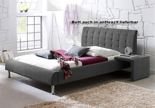 bett clip polsterbett mit kopfteil stoff in gr n 140x200 cm. Black Bedroom Furniture Sets. Home Design Ideas