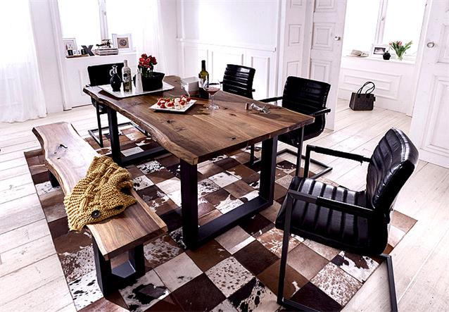 esstisch queens tisch esszimmer akazie massiv natur ge lt und metall grau 180x90 ebay. Black Bedroom Furniture Sets. Home Design Ideas