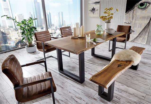 schwingstuhl mit armlehne parzival 4er set stuhl in antik braun eisen grau. Black Bedroom Furniture Sets. Home Design Ideas