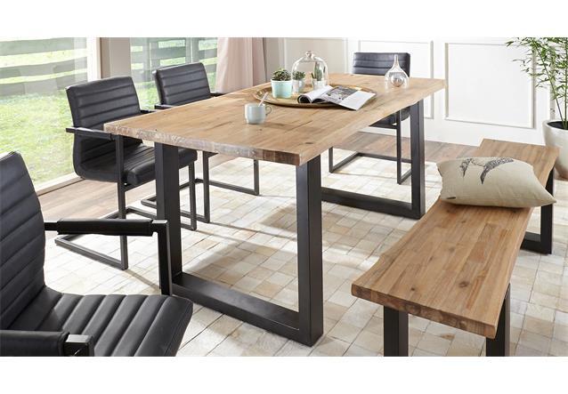 esstisch maryland esszimmertisch akazie massiv geb rstet macam eisen 180x90 cm ebay. Black Bedroom Furniture Sets. Home Design Ideas