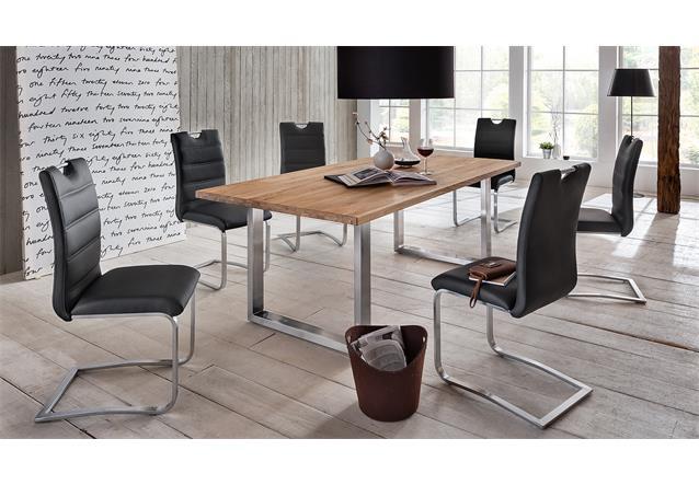 esstisch brooklyn esszimmertisch tisch eiche massiv natur edelstahl 180x90. Black Bedroom Furniture Sets. Home Design Ideas