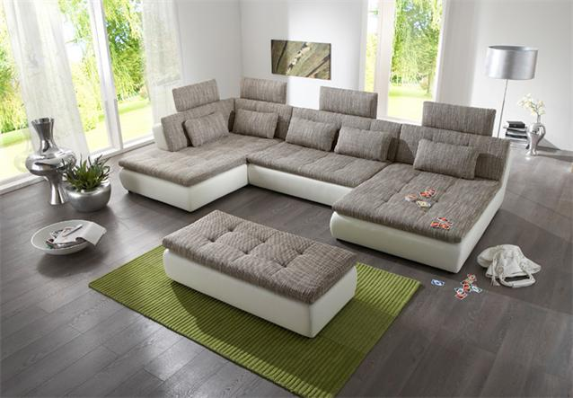 wohnlandschaft free sofa ecksofa in wei hellgrau und graphite bielefeld. Black Bedroom Furniture Sets. Home Design Ideas