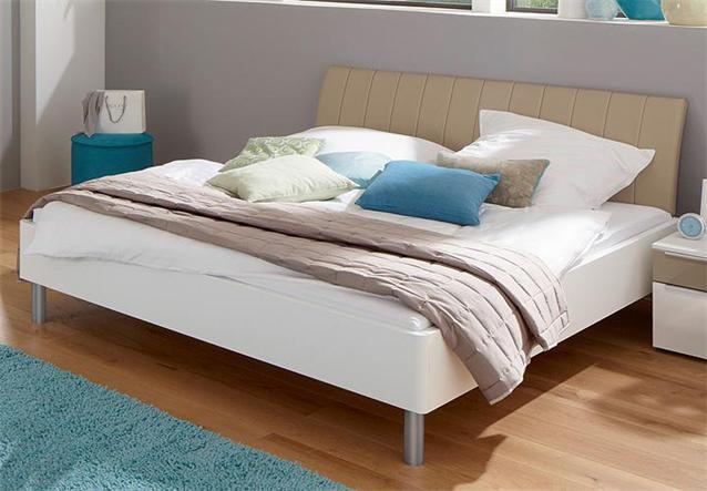 bett sonyo von nolte doppelbett polarwei kopfteil sand 180x200 ebay. Black Bedroom Furniture Sets. Home Design Ideas